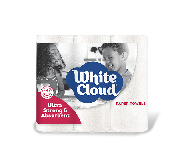White Cloud® Ultra Strong & Absorbent Paper Towels - 6-Roll Pkg